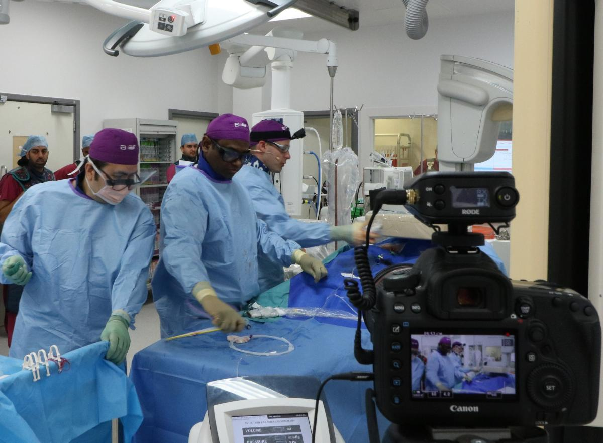 Interventional radiologists in the operating theatre