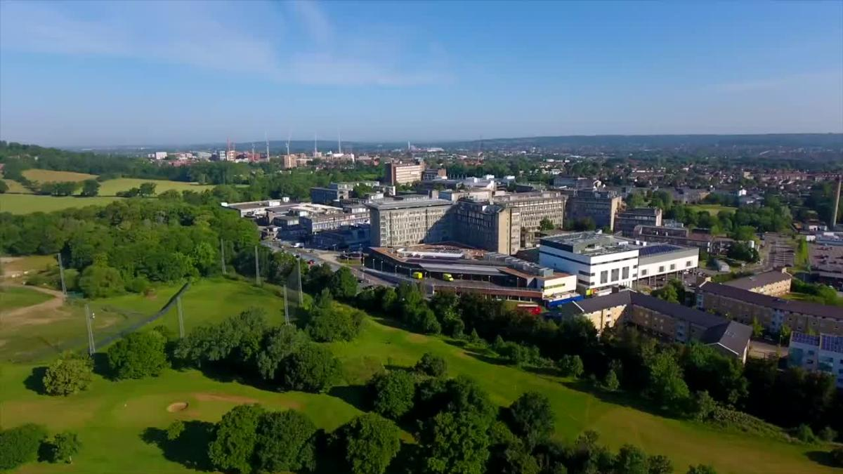 Sainsbury Ward is situated at the top of Northwick Park Hospital. Arial shot of Northwick Park Hospital from a distance