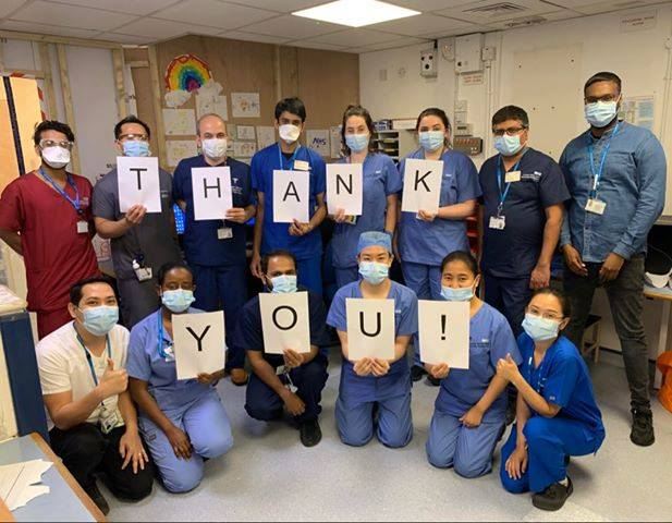 NHS staff saying thank you
